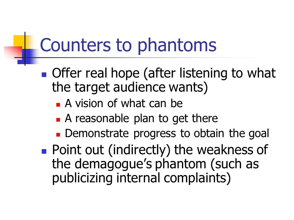 Counters to phantoms Offer real hope (after listening to what the target audience wants) A vision of what can be A reasonable plan to get there Demons