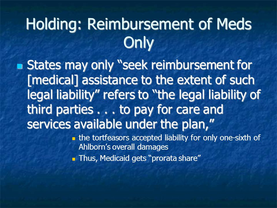 Holding: Reimbursement of Meds Only States may only seek reimbursement for [medical] assistance to the extent of such legal liability refers to the legal liability of third parties...