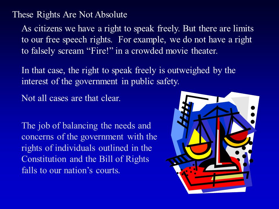 Individual Rights For example, the First Amendment gives individuals the freedom to speak, to associate with others, and to practice the religion of t