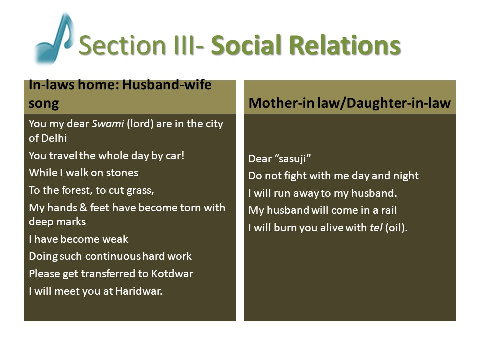 Section III- Social Relations Parental home Dear high mountain peaks Lower yourselves Let me see my mother's home.