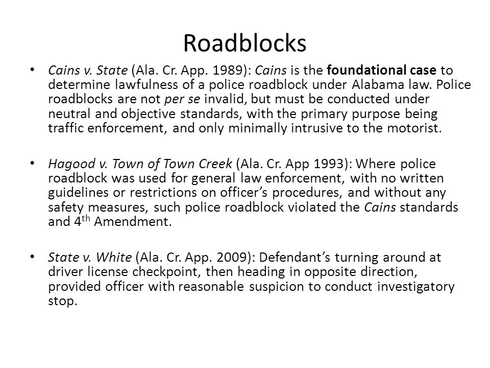 Roadblocks Cains v. State (Ala. Cr. App.