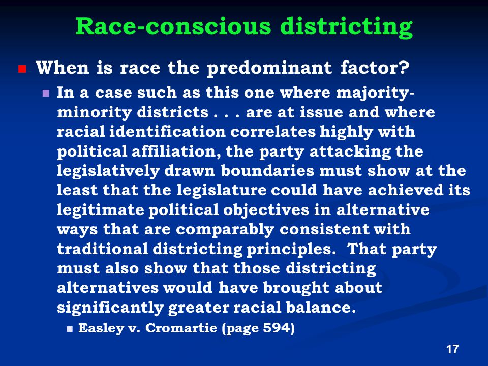 Race-conscious districting When is race the predominant factor.