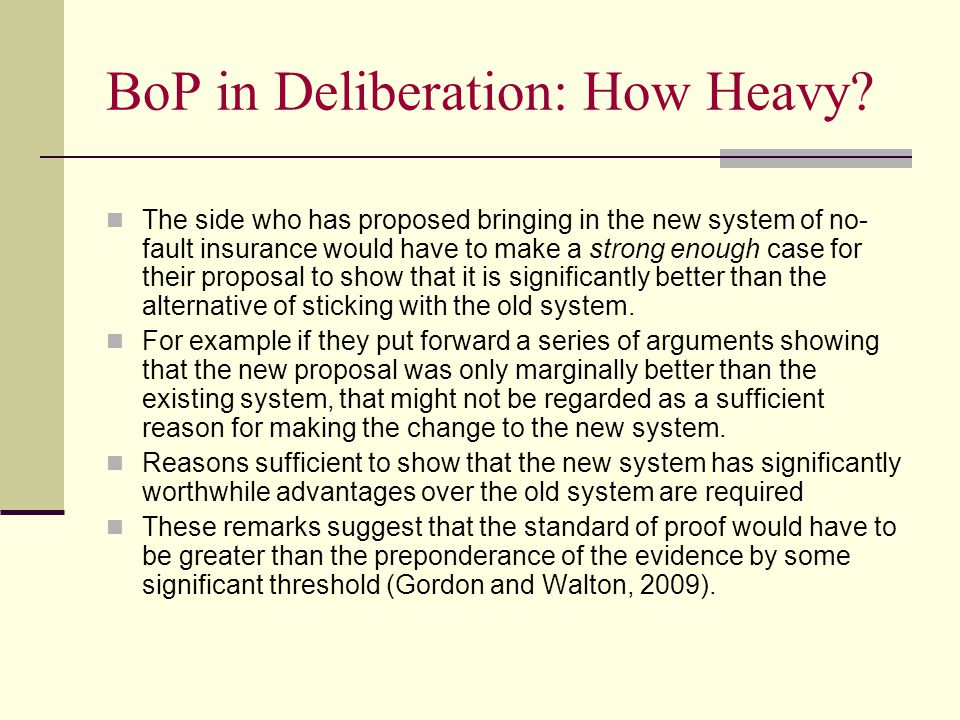 BoP in Deliberation: How Heavy.