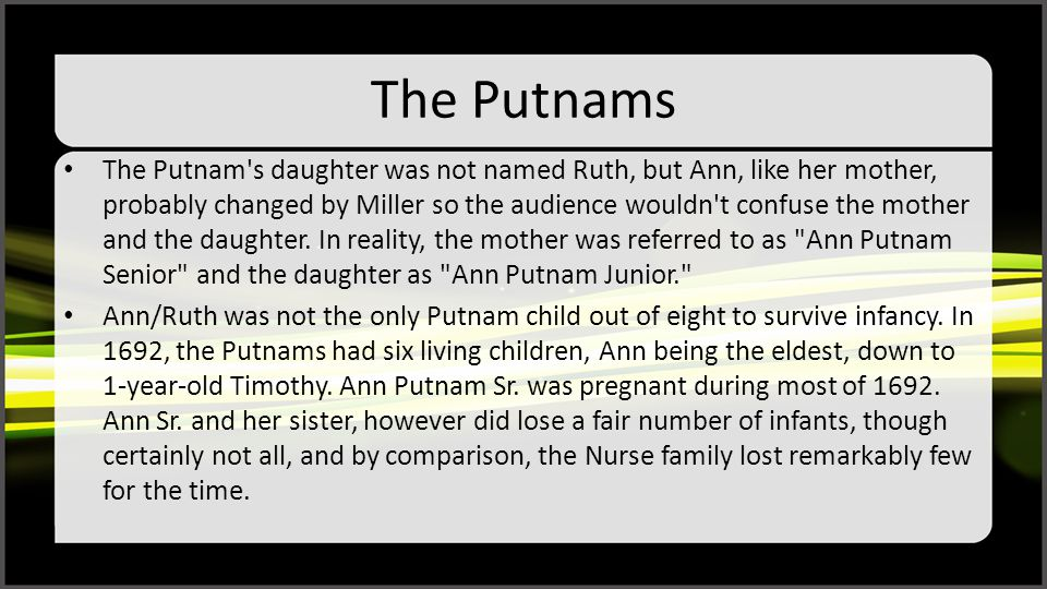 The Putnams The Putnam's daughter was not named Ruth, but Ann, like her mother, probably changed by Miller so the audience wouldn't confuse the mother