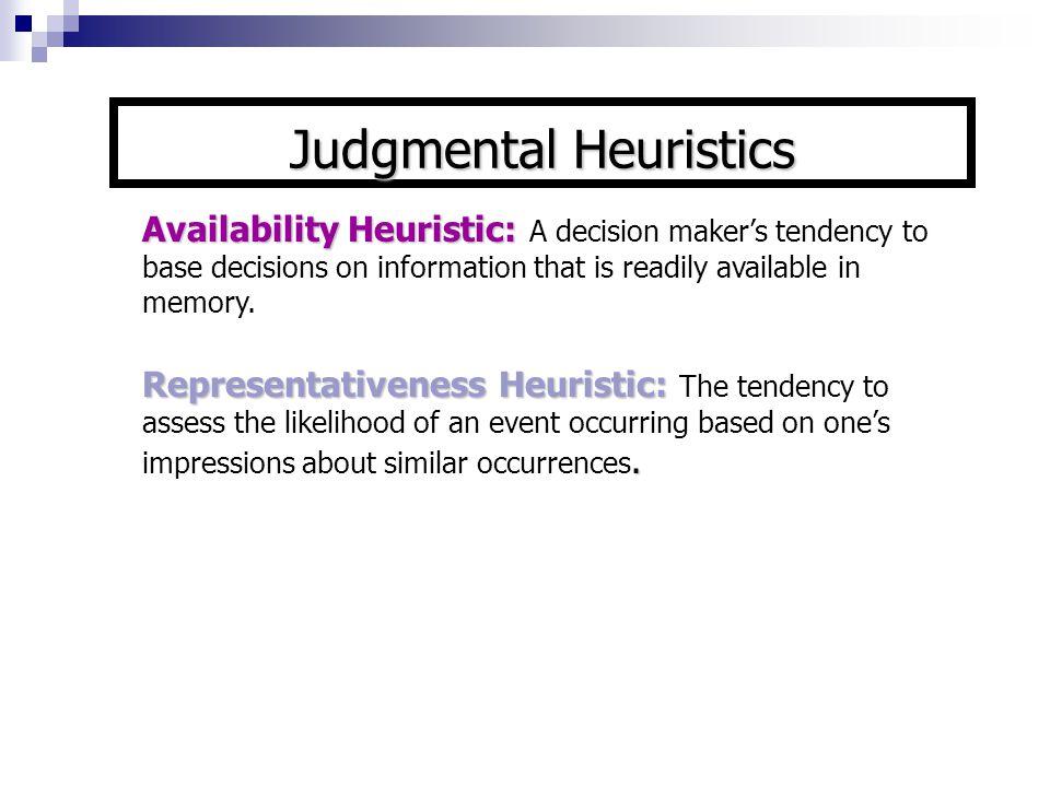 Satisficing: Satisficing: Choosing a solution that meets a minimum standard of acceptance Judgmental Heuristics (cont)