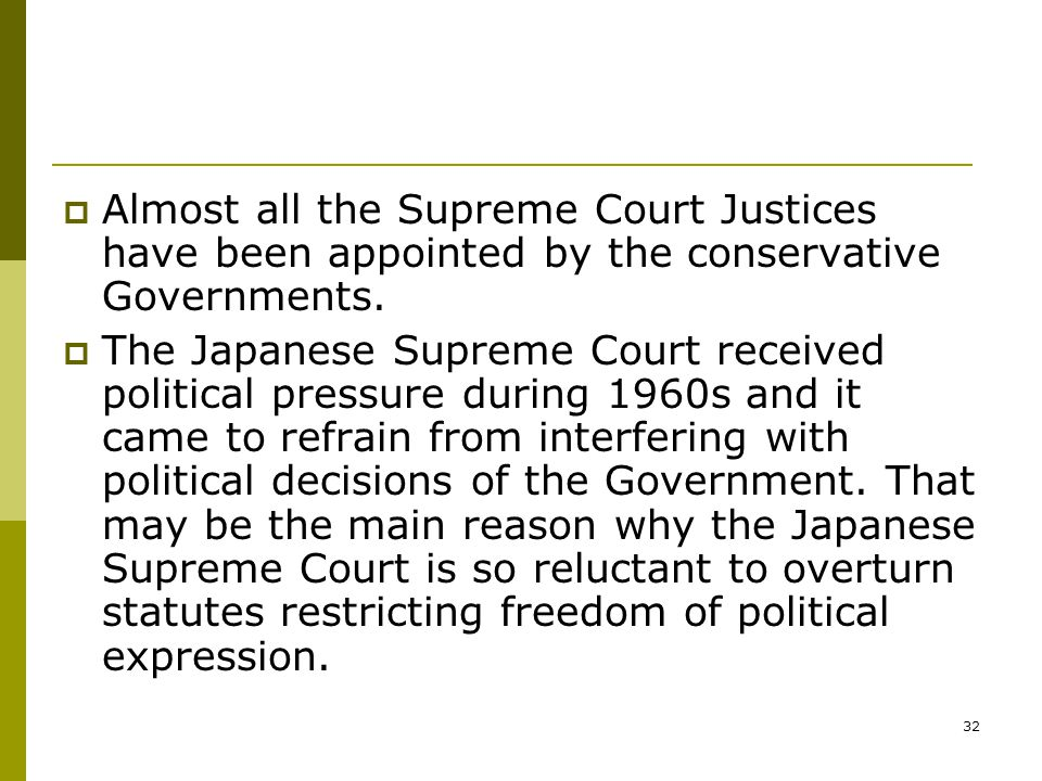 32  Almost all the Supreme Court Justices have been appointed by the conservative Governments.