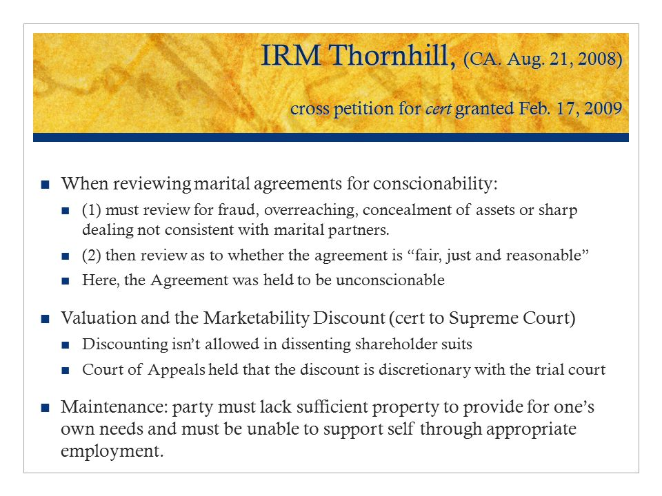 IRM Thornhill, (CA. Aug. 21, 2008) cross petition for cert granted Feb.