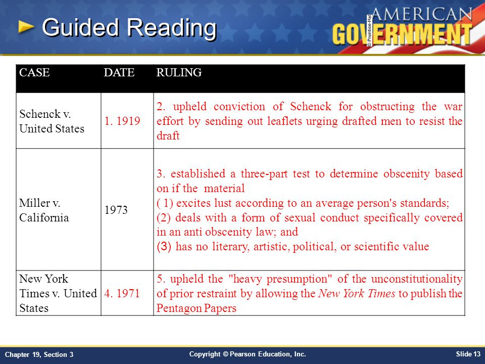 Copyright © Pearson Education, Inc.Slide 13 Chapter 19, Section 3 Guided Reading CASEDATERULING Schenck v. United States 1. 1919 2. upheld conviction