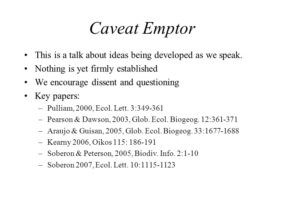 Caveat Emptor This is a talk about ideas being developed as we speak.
