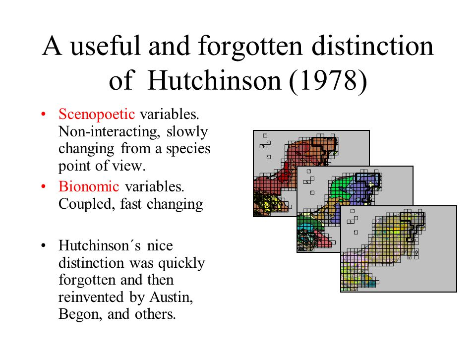 A useful and forgotten distinction of Hutchinson (1978) Scenopoetic variables.