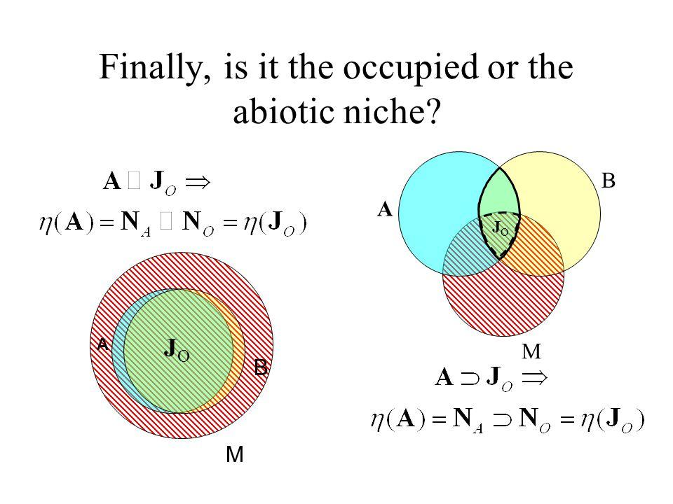Finally, is it the occupied or the abiotic niche B M JOJO A B M JOJO A