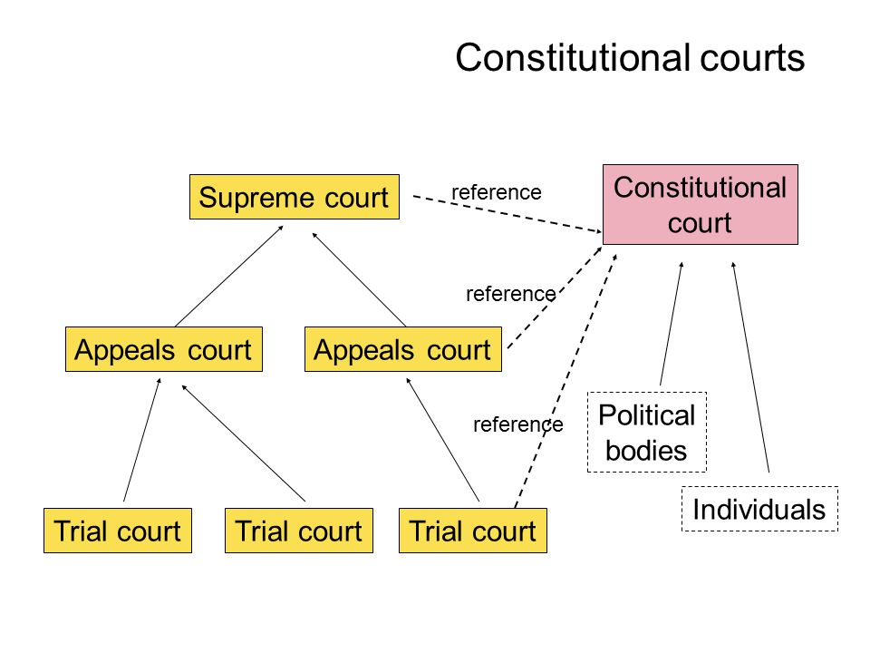 Constitutional courts Trial court Appeals court Trial court Appeals court Supreme court Constitutional court Political bodies Individuals reference