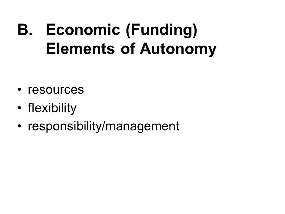 B. Economic (Funding) Elements of Autonomy resources flexibility responsibility/management