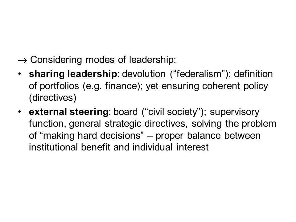  Considering modes of leadership: sharing leadership: devolution ( federalism ); definition of portfolios (e.g.