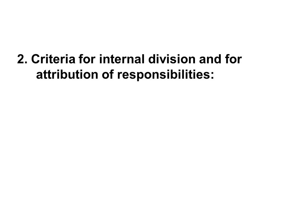 2. Criteria for internal division and for attribution of responsibilities: