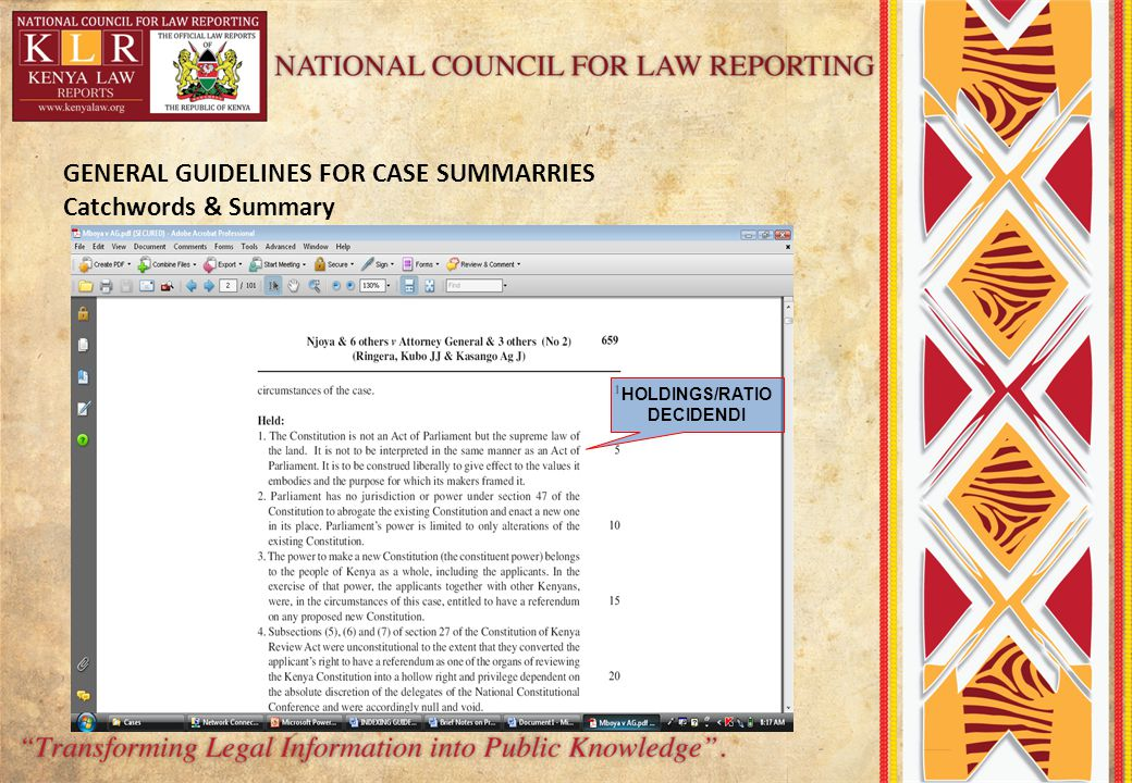 GENERAL GUIDELINES FOR CASE SUMMARRIES Catchwords & Summary HOLDINGS/RATIO DECIDENDI