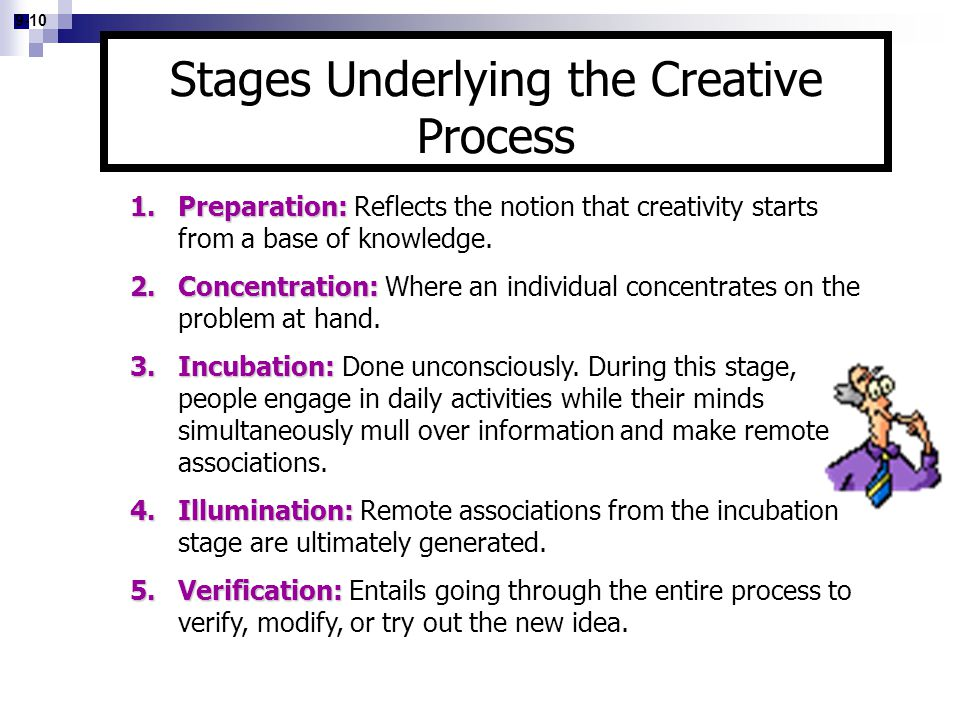 9-10 1.Preparation: 1.Preparation: Reflects the notion that creativity starts from a base of knowledge. 2.Concentration: 2.Concentration: Where an ind