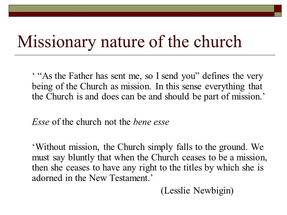 Missionary nature of the church ' As the Father has sent me, so I send you defines the very being of the Church as mission.