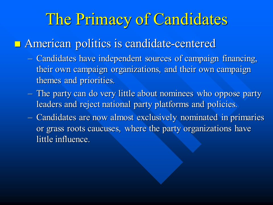 The Primacy of Candidates American politics is candidate-centered American politics is candidate-centered –Candidates have independent sources of camp
