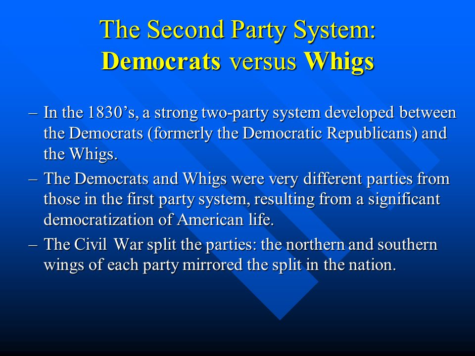 The Second Party System: Democrats versus Whigs –In the 1830's, a strong two-party system developed between the Democrats (formerly the Democratic Rep