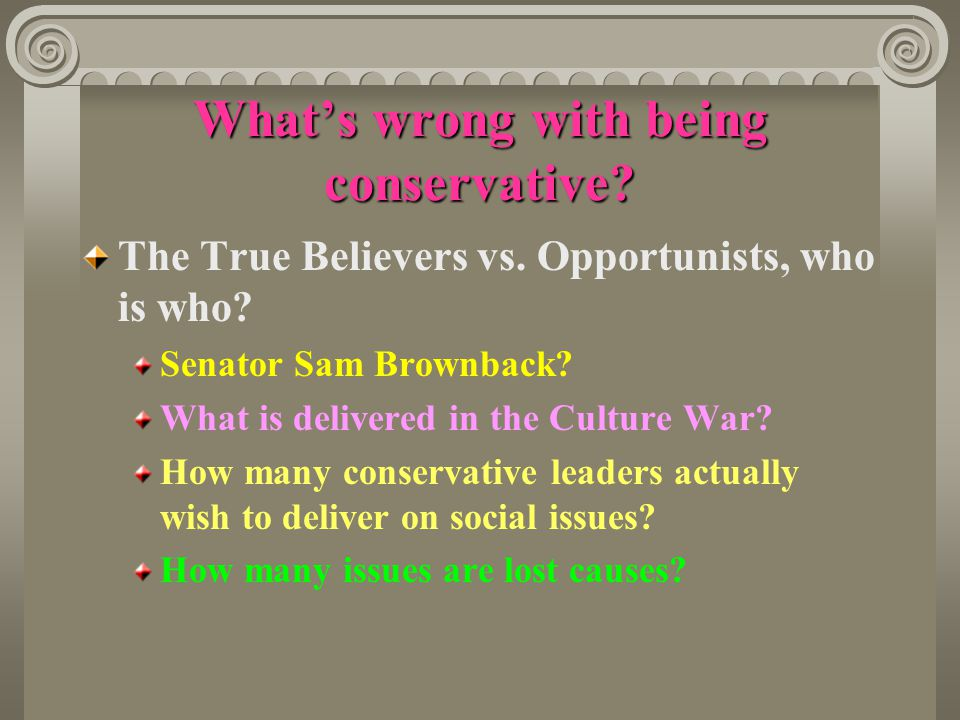 What's wrong with being conservative. The True Believers vs.