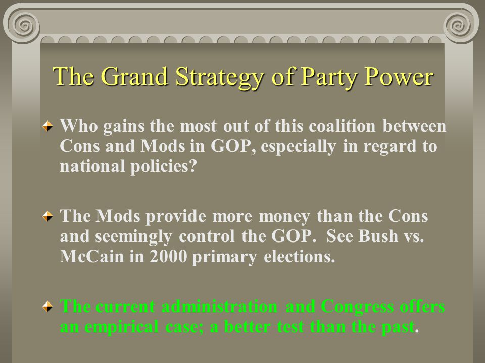 The Grand Strategy of Party Power Who gains the most out of this coalition between Cons and Mods in GOP, especially in regard to national policies.