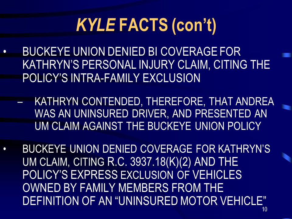 10 KYLE FACTS (con't) BUCKEYE UNION DENIED BI COVERAGE FOR KATHRYN'S PERSONAL INJURY CLAIM, CITING THE POLICY'S INTRA-FAMILY EXCLUSION –KATHRYN CONTENDED, THEREFORE, THAT ANDREA WAS AN UNINSURED DRIVER, AND PRESENTED AN UM CLAIM AGAINST THE BUCKEYE UNION POLICY BUCKEYE UNION DENIED COVERAGE FOR KATHRYN'S UM CLAIM, CITING R.C.