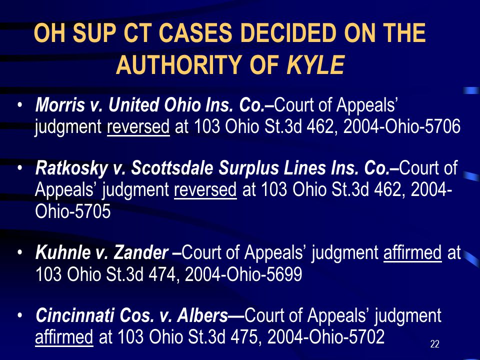 22 OH SUP CT CASES DECIDED ON THE AUTHORITY OF KYLE Morris v.