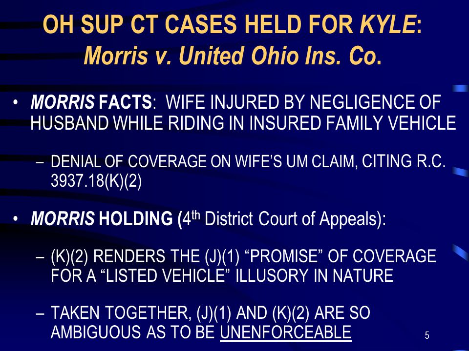 5 OH SUP CT CASES HELD FOR KYLE : Morris v. United Ohio Ins.