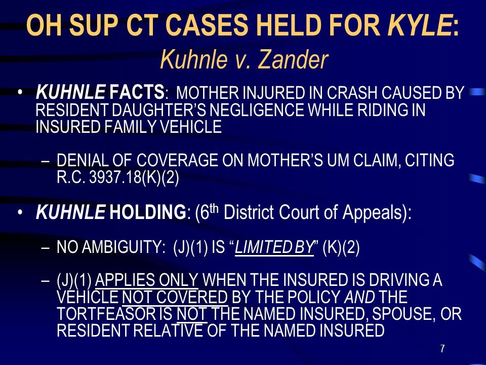 7 OH SUP CT CASES HELD FOR KYLE : Kuhnle v.