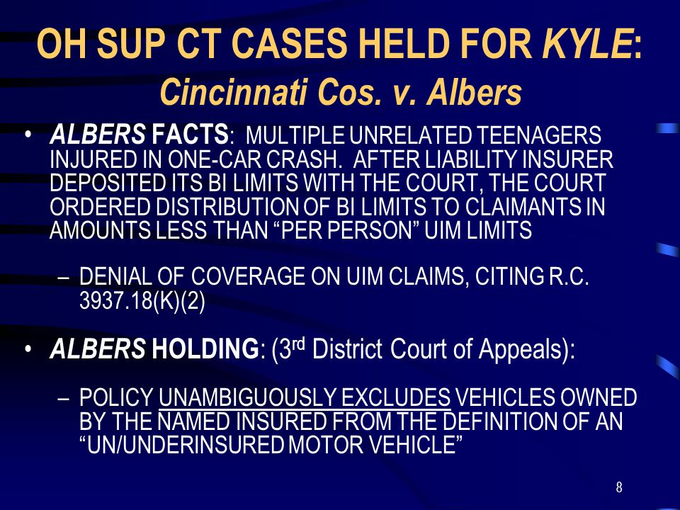 9 KYLE FACTS ON JUNE 11, 2000, KATHRYN KYLE WAS INJURED IN A CRASH CAUSED BY THE NEGLIGENCE OF HER SISTER, ANDREA, WHILE RIDING IN AN INSURED FAMILY CAR ANDREA AND KATHRYN EACH RESIDED IN PARENTS' HOUSEHOLD –EACH SISTER IS AN INSURED UNDER THE BUCKEYE UNION POLICY COVERING THE CRASH VEHICLE –THE POLICY EXPRESSLY IDENTIFIED ANDREA AS THE RATED DRIVER OF CRASH VEHICLE THE BUCKEYE UNION POLICY PROVIDED EQUIVALENT AMOUNTS OF BI AND UM COVERAGE