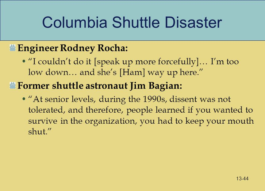 "Columbia Shuttle Disaster Engineer Rodney Rocha: ""I couldn't do it [speak up more forcefully]… I'm too low down… and she's [Ham] way up here."" Former"