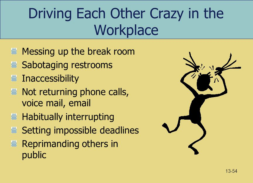 Driving Each Other Crazy in the Workplace Messing up the break room Sabotaging restrooms Inaccessibility Not returning phone calls, voice mail, email