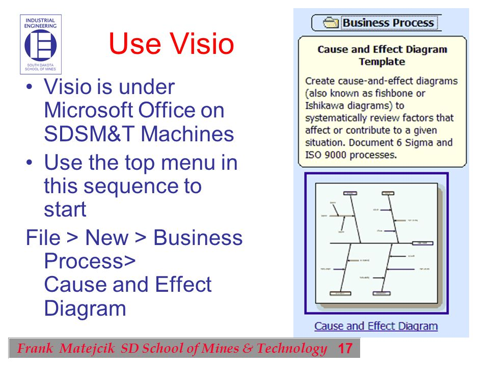 17 Frank Matejcik SD School of Mines & Technology Use Visio Visio is under Microsoft Office on SDSM&T Machines Use the top menu in this sequence to start File > New > Business Process> Cause and Effect Diagram