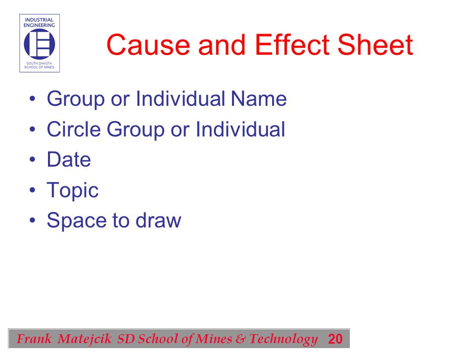 20 Frank Matejcik SD School of Mines & Technology Cause and Effect Sheet Group or Individual Name Circle Group or Individual Date Topic Space to draw