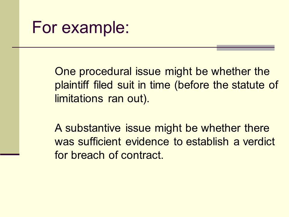 The Issue(s): To find the issue, you have to identify the rule of law that governs the dispute and ask how it should apply to the given set of facts.