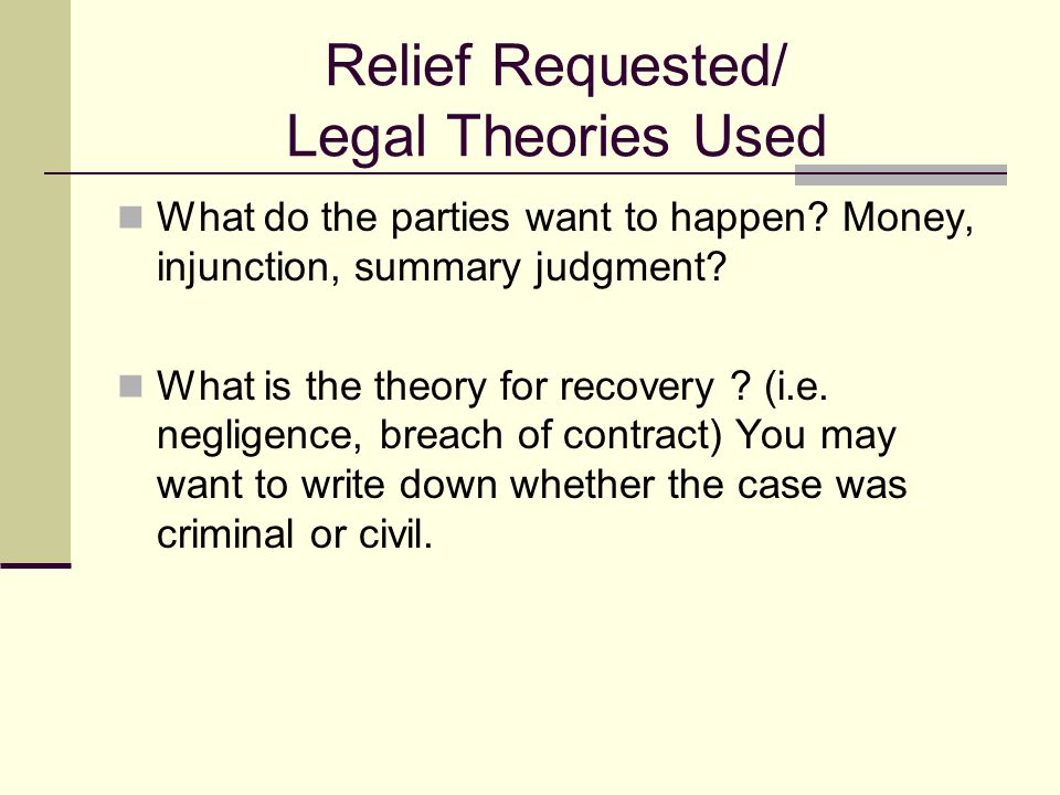 Parties Who is the plaintiff ?  Who is the Defendant ?  Is there anything about their relationship that effects the legal analysis or outcome of the