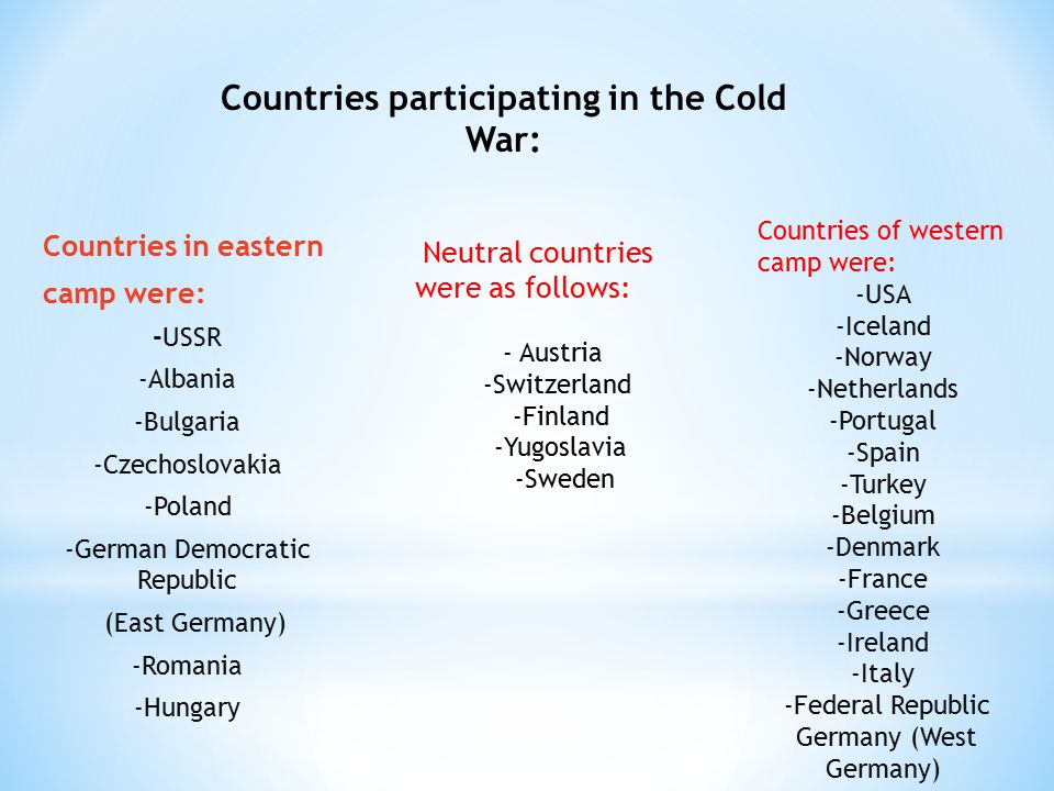 Countries in eastern camp were: -USSR -Albania -Bulgaria -Czechoslovakia -Poland -German Democratic Republic (East Germany) -Romania -Hungary Countries participating in the Cold War: Neutral countries were as follows: - Austria -Switzerland -Finland -Yugoslavia -Sweden Countries of western camp were: -USA -Iceland -Norway -Netherlands -Portugal -Spain -Turkey -Belgium -Denmark -France -Greece -Ireland -Italy -Federal Republic Germany (West Germany)