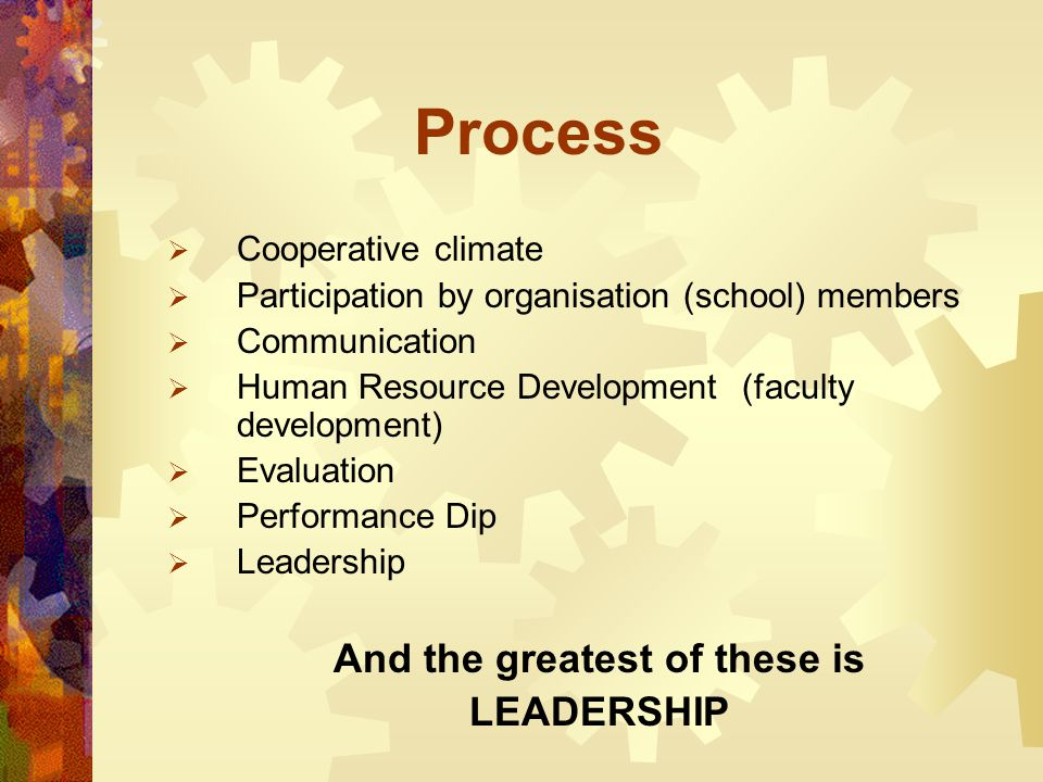 Process  Cooperative climate  Participation by organisation (school) members  Communication  Human Resource Development (faculty development)  Ev