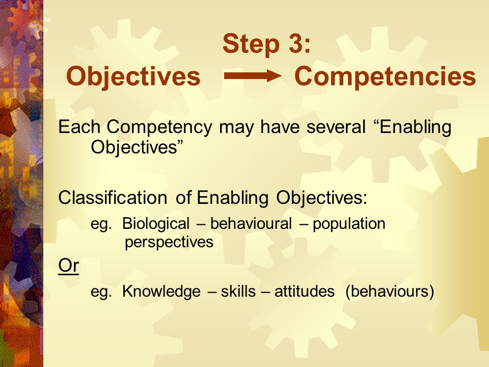 "Step 3: Objectives Competencies Each Competency may have several ""Enabling Objectives"" Classification of Enabling Objectives: eg. Biological – behavio"