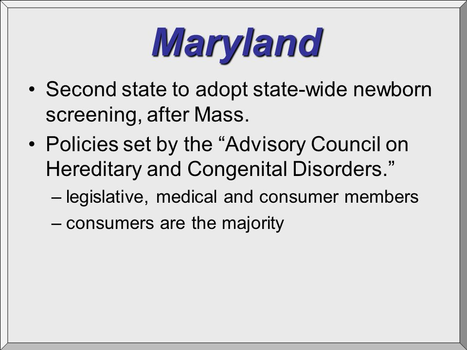 Maryland Second state to adopt state-wide newborn screening, after Mass.