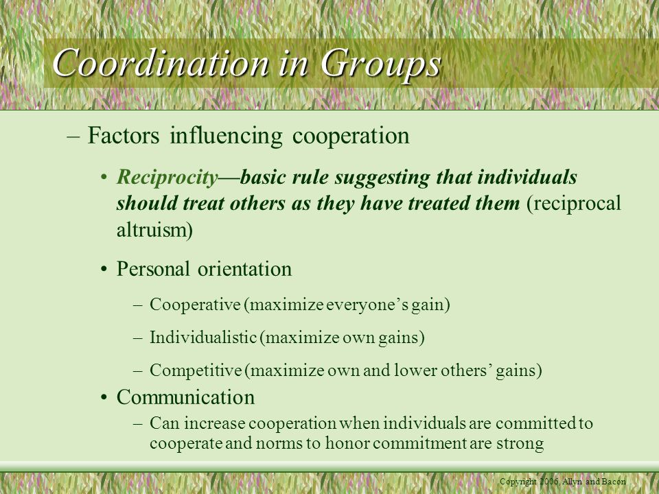 Copyright 2006, Allyn and Bacon Coordination in Groups –Factors influencing cooperation Reciprocity—basic rule suggesting that individuals should trea