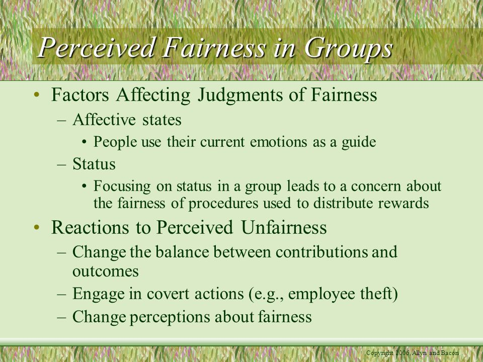 Copyright 2006, Allyn and Bacon Perceived Fairness in Groups Factors Affecting Judgments of Fairness –Affective states People use their current emotio