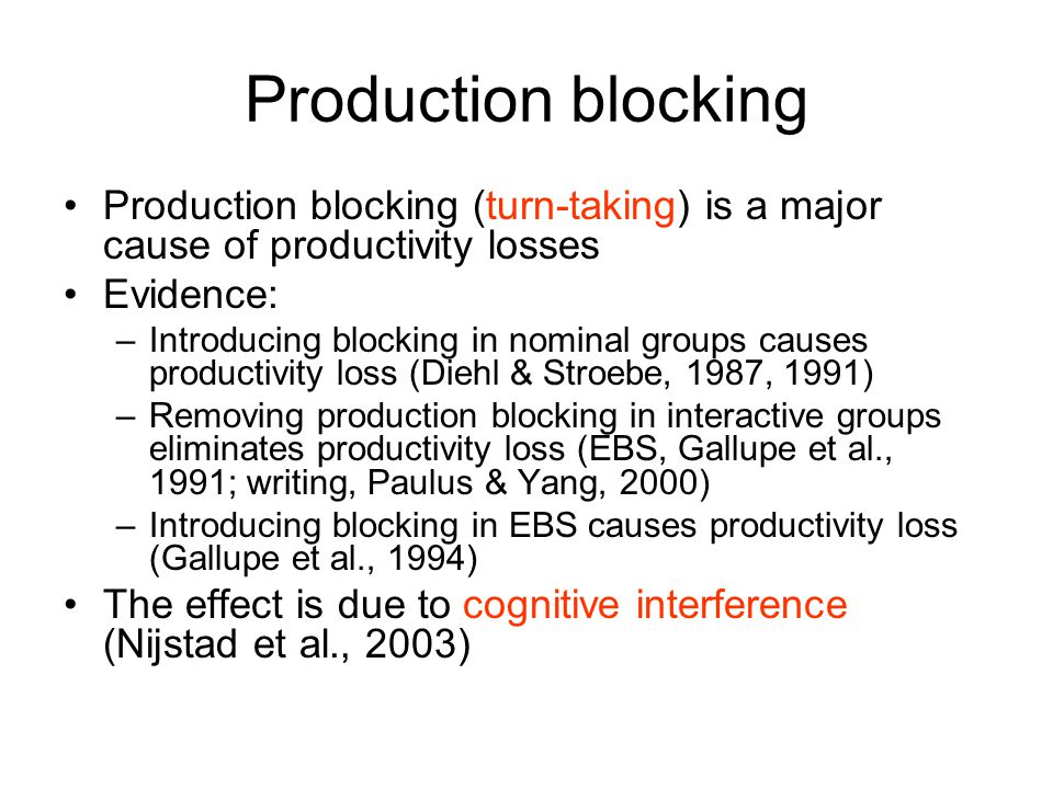 Production blocking Production blocking (turn-taking) is a major cause of productivity losses Evidence: –Introducing blocking in nominal groups causes productivity loss (Diehl & Stroebe, 1987, 1991) –Removing production blocking in interactive groups eliminates productivity loss (EBS, Gallupe et al., 1991; writing, Paulus & Yang, 2000) –Introducing blocking in EBS causes productivity loss (Gallupe et al., 1994) The effect is due to cognitive interference (Nijstad et al., 2003)