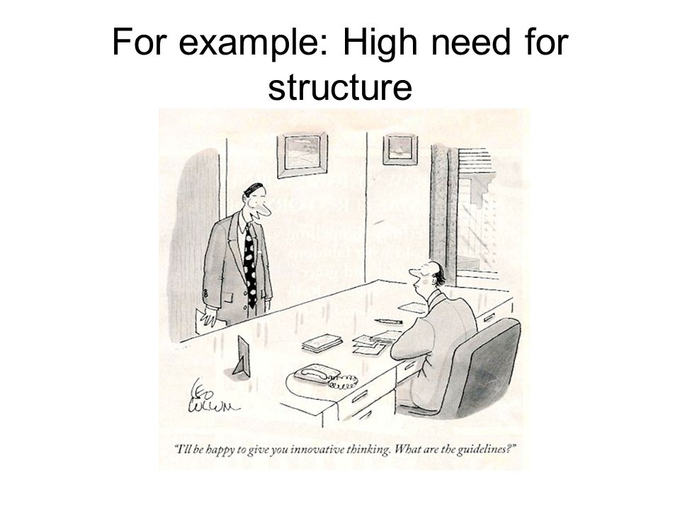 For example: High need for structure
