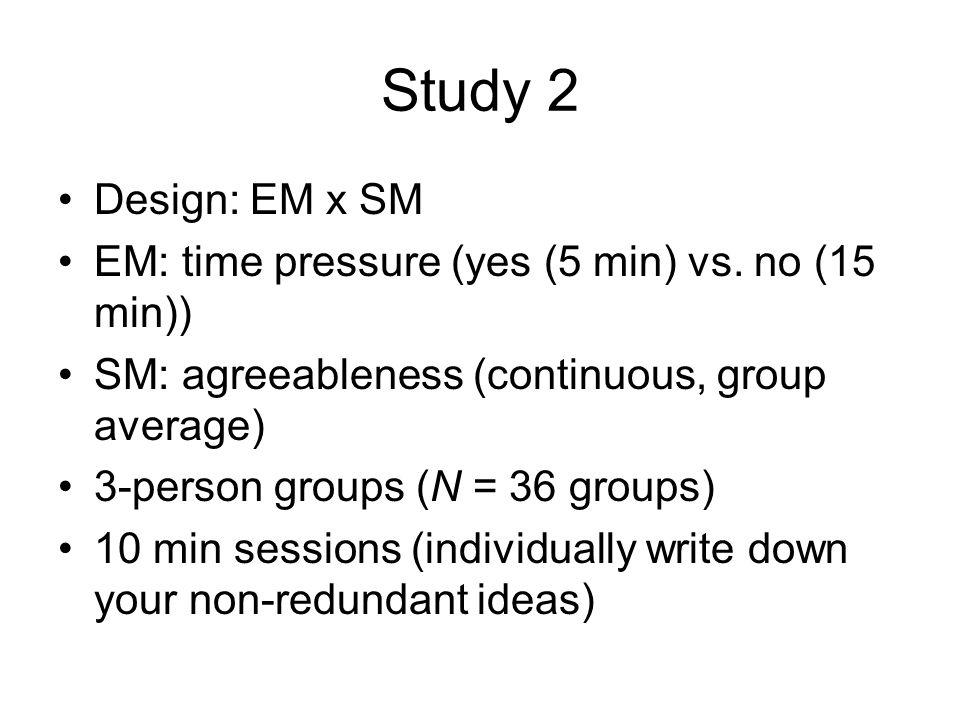 Study 2 Design: EM x SM EM: time pressure (yes (5 min) vs.