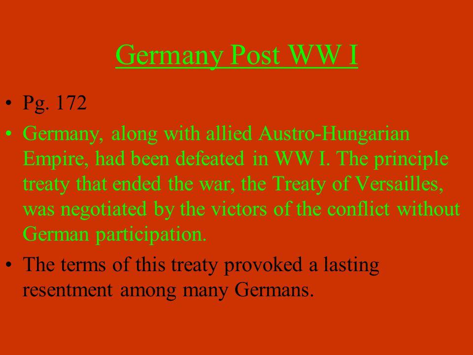 Germany Post WW I Pg.