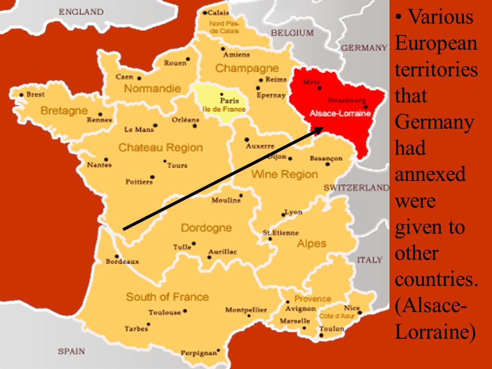 Various European territories that Germany had annexed were given to other countries.