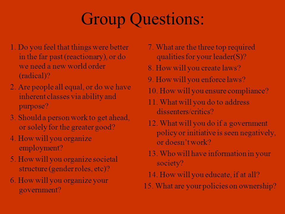Group Questions: 1.