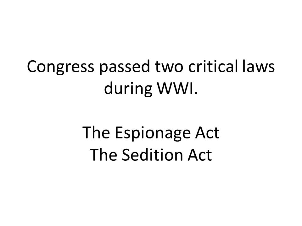 Congress passed two critical laws during WWI. The Espionage Act The Sedition Act